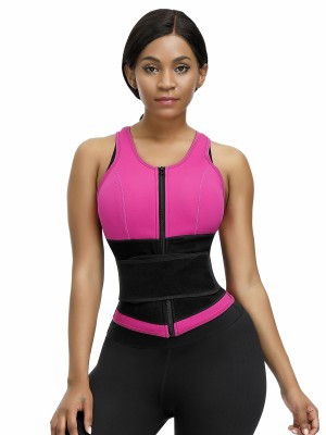 Sexy Rose Red Neoprene Tank Shaper Belt Sticker Zipper Amazing Shape