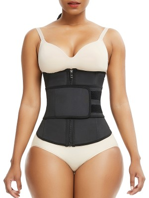Body Sculpting Black Belt Waist Cincher Zipper Sticker High Power