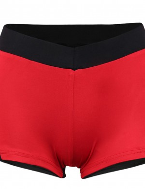 Pretty Red Contrast Color Patchwork Shorts Angle Edge For Party