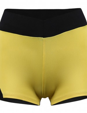 Wonderful Yellow Splicing Hit Color Shorts Apple Buttock Ladies Fashion