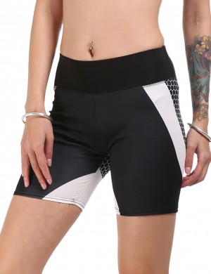 Eye Catching Black Matching Color Honeycomb Short Sport Bottoms