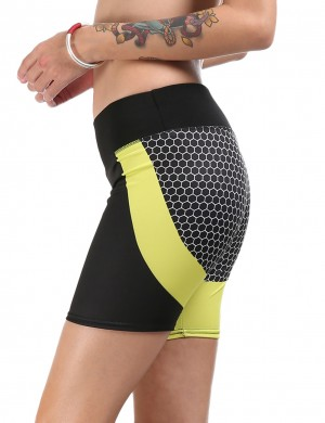 Captivating Honeycomb Print Yellow High Rise Sport Bottoms Short