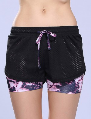 Light Pink Waist Knot Elastic Print Mini Active Bottoms Slimming Fit