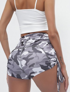 Gray Gym Shorts High-Waisted Knotted Camouflage Comfort Fashion