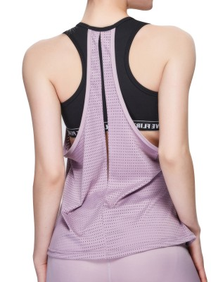 Glamorous Light Purple Running Top Racerback Eyelet Backless Holiday