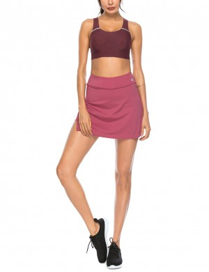 Wine Red High Waist Slit Side Tennis Skirt Pocket For Work