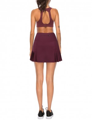 Exercise Jujube Red A-Line Zip At Back Pocket Pleated Skirt Slim