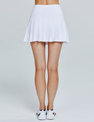 Stretchable White pleated Solid Color for Mini Tennis Skirt Female Fashion