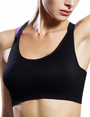 Modern Fit Contrast Color Black Backless Sport Bra Wide Strap Form Fit