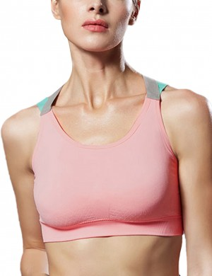 Sophiscated Criss Cross Light Pink U Neck Sport Bra Backless Superior Quality