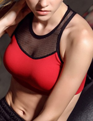Fantasy Red I-Shaped Back Contrast Color Active Bra Quick Drying