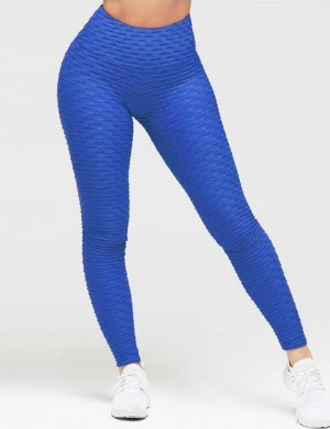 Ankle Length Yoga Legging Flattering Blue Butt Lifting High Rise Smooth