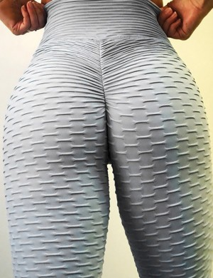 Sweat Yoga Legging Butt Enhance Nice Quality Lightweight Plain Ankle Length Grey