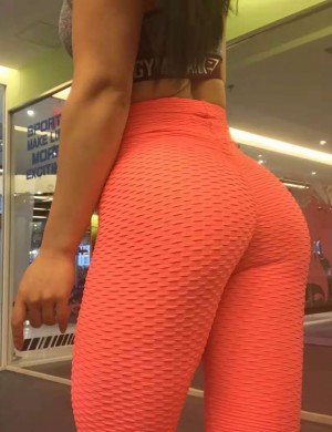 Ankle Length Yoga Legging Sweat Absorption Orange Maxi Length Butt Enhance Plain