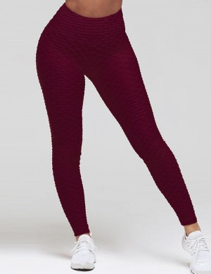 Distinct Wine Red Jacquard Yoga Leggings For Runner High Waisted Full Length