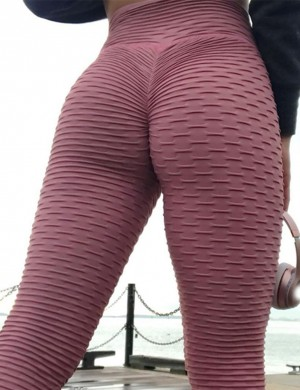 Stretched Yoga Legging High Elasticity Lightweight Plain Dark Red Butt Enhance Pure Color