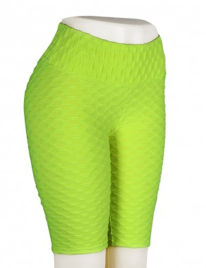 Splicing Green Tight Jacquard Bike Gym Shorts High Waist Women
