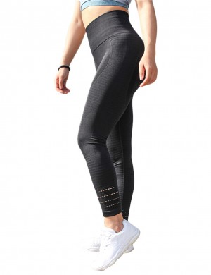 Stretchable Black Yoga Leggings Stripe Keyhole High Waist Fashion
