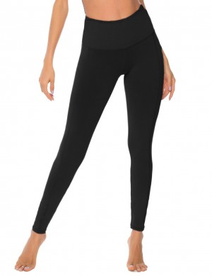 Black Mid-Rise Full Length Tight Yoga Leggings High Elasticity
