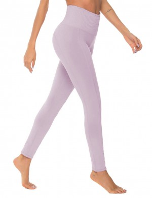 Light Purple Trace Design Pleated Detail Yoga Leggings Seamless