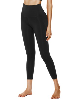 Brilliant Black Elastic Plain Yoga Leggings High Rise Feminine
