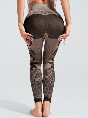 Distinctive Brown Ankle Length Mesh Leggings Seamless Fashionable Design