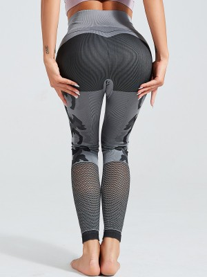 Breathable Gray Seamless Knit Yoga Leggings High Waist For Work