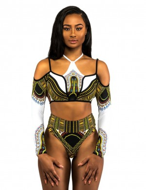 Female White Bikini Cold Shoulder African Pattern Chocker Neck