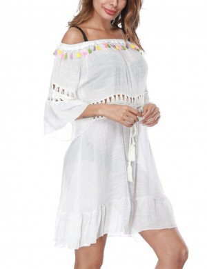 Shop White Off Shoulder Tassel Beach Dress Hollow Out Waist