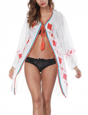 Holiday White Printed Pattern Sunscreen Smock Tassel Tie Closure