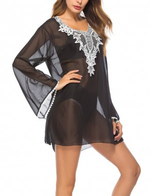 Ethnic Style Embroidered Black Bikini Outer Blouse Long Sleeves
