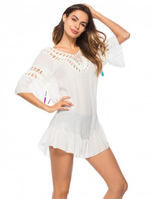 Explorer Hollow Out White Tassel Swimwear Outer Blouse Backless