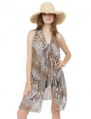 Beach Vacation Khaki Sleeveless Swimming Cover Up Leopard Print