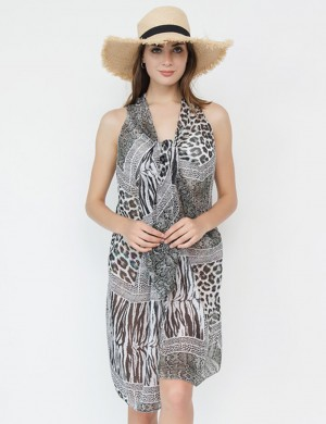 Sunshine Grey Printed Long Beach Cover Up No Sleeves At Great Prices‎