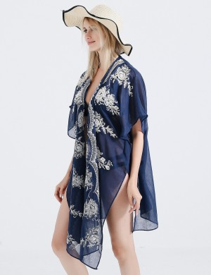 Soft Navy Blue Transparent Beach Cover Up Flower Pattern At Great Prices‎