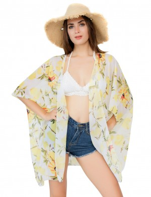Graceful White Chiffon Floral Pattern Beach Cover Up For Traveling