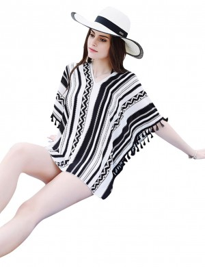 Colorful Black Stripes Swimwear Cover Up V-Neck Tassel Chic Fashion