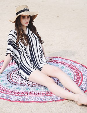 Young Girl Navy Blue Geometric Print Beachwear Cover Up Mini Length Women Outfit