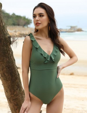 Functional Dark Green Flounce One Piece Bathing Suit V-Neck Beach Playing Time