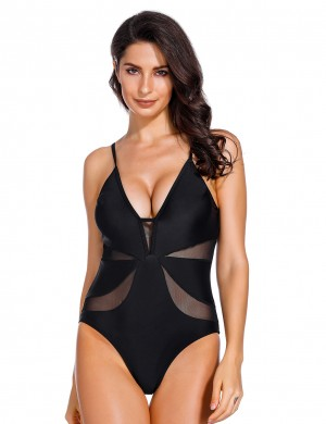 Holiday Black One Piece Swimsuit Wireless Pads Hollow Out Hawaii Comfort