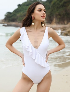 Pretty White Large Size Swimsuit V Collar Adjustable Straps Beach Honeymoon