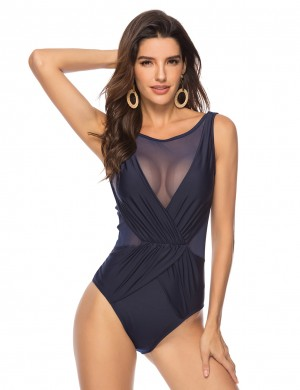 Holiday Dark Blue Plus Size Back Plunging Collar Swimwear Mesh Elastic Material