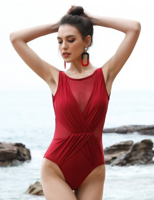 Vogue Jujube Red Big Size Ruched One Piece Swimsuit Stitching Visual Effect
