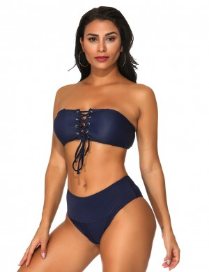 Faddish Dark Blue Pure Color Lace-Up Bikini Detachable Strap Eye Catcher