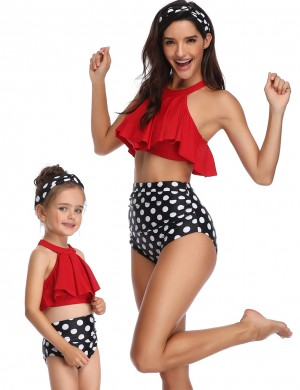 Premium Quality Red Ruffle Family Swimsuit Halter Dot Pattern