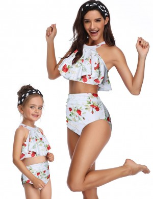 Unvarnished White Halter Ruffle Family Swimwear High Waist Women Outfit