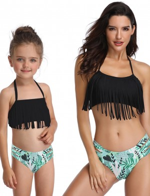 Asymmetrical Black Family Bikini Halter Neck Hollow Out Fringe Trendy Swimwear