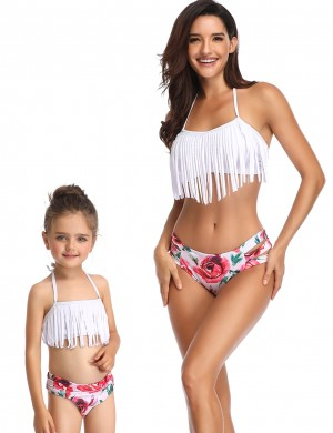 Summer Ladies White Floral Pattern Family Swimsuit Halter Neck Chic