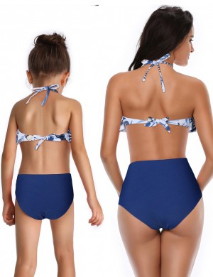 Zealous Blue Printed Cross Family Halter Bikini With Ruffle Female Charm