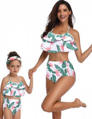 Smooth Wireless Family Bathing Suit Print Bowknot Ladies Elegance